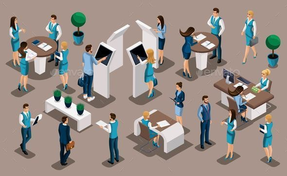 Isometric Set of Bank People - Industries Business
