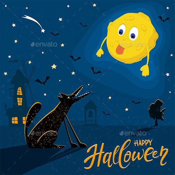 Wolf with Moon and Text Happy Halloween - Halloween Seasons/Holidays