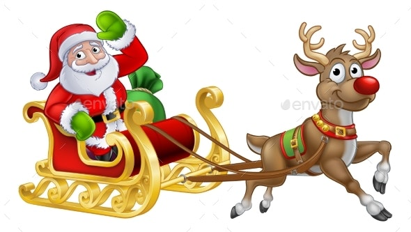 Santa Sleigh Christmas Cartoon - Christmas Seasons/Holidays