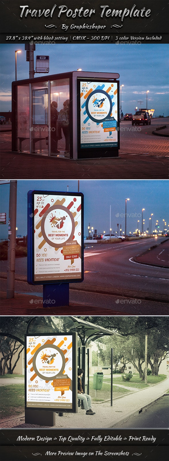 Travel Poster Template - Signage Print Templates