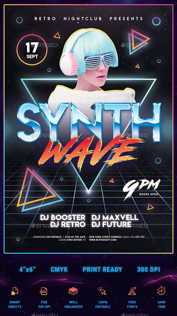 80's Synthwave Flyer - Clubs & Parties Events