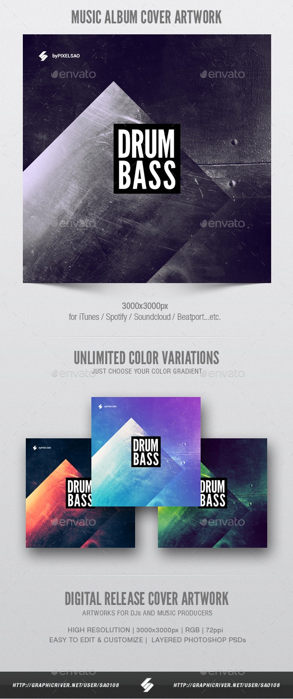 Drum and Bass 2 - Album Cover Artwork Template - Miscellaneous Social Media