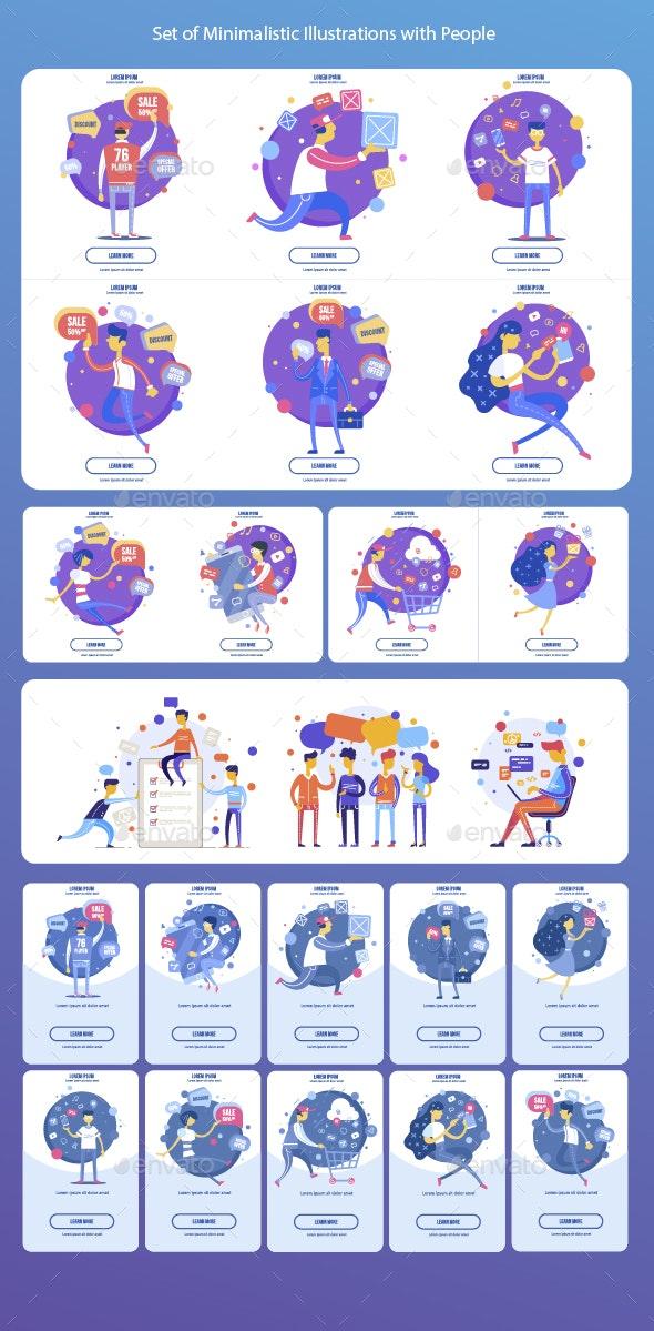 Set of Minimalist Illustrations with People - People Characters