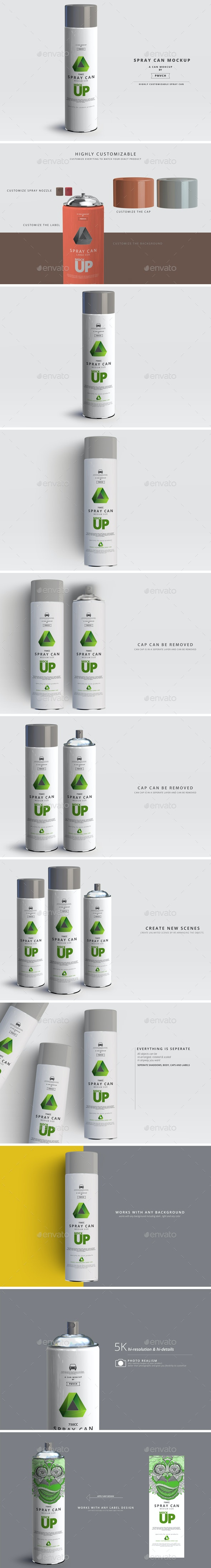 Spray Can Mockup - Large - Miscellaneous Packaging