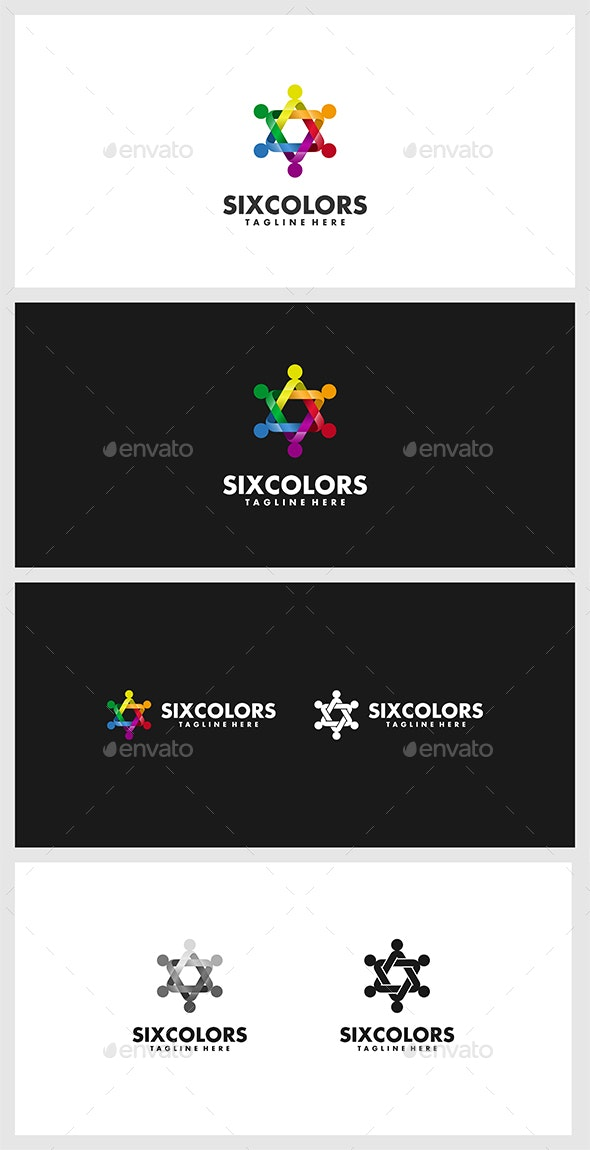 SixColors Logo Template - 3d Abstract