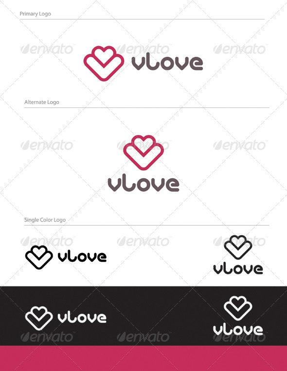 V Love Logo Design - LET-018 - Letters Logo Templates