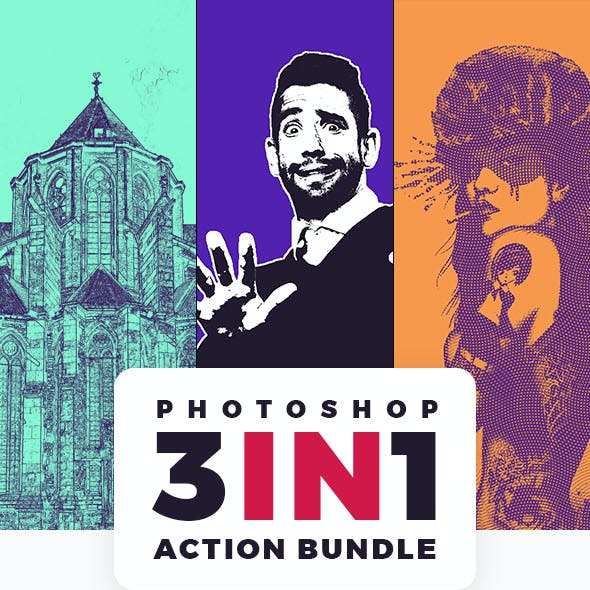 3in1 Photoshop Action Bundle