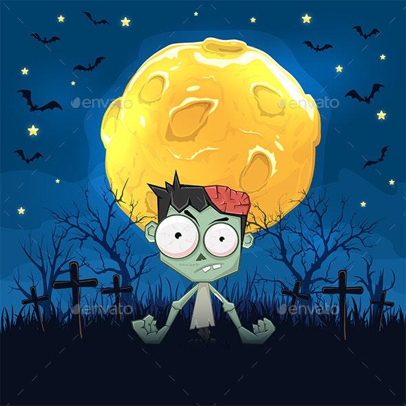 Zombie on Night Halloween Background with Moon - Halloween Seasons/Holidays