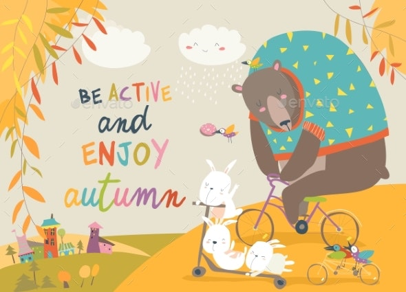 Animals Riding a Bicycles in Autumn Park - Animals Characters