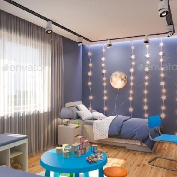 3d Render of the Children's Bedroom Interior in