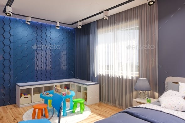3d Render Of The Children S Bedroom Interior By Richman21 Graphicriver