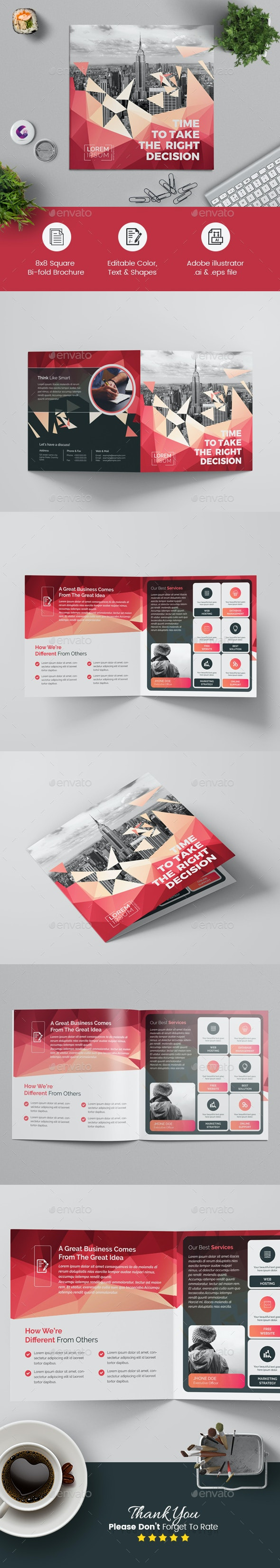 Geometric Square Bi-Fold Brochure - Corporate Brochures