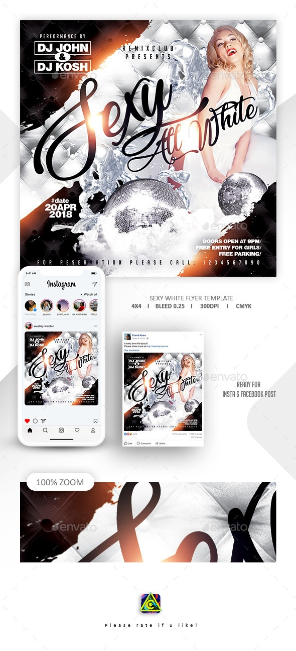 Sexy White Party Flyer Template - Clubs & Parties Events