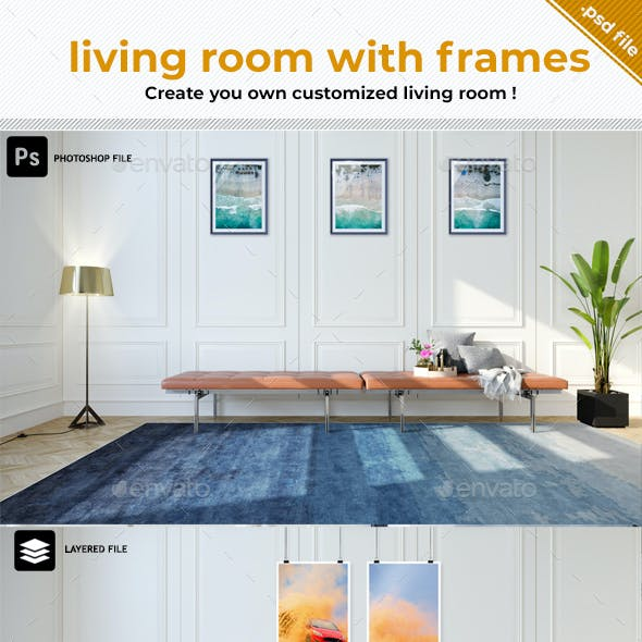 Living Room with Picture Frames Mockup