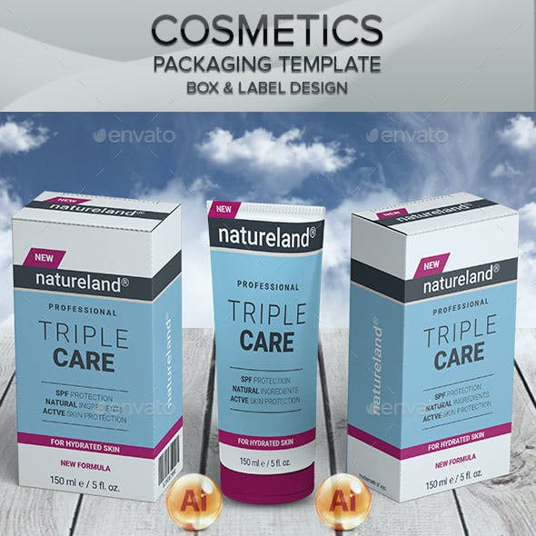 Cosmetic Tube and Label Packaging Templates