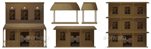 Different Design Of Building In Western Styles - Buildings Objects