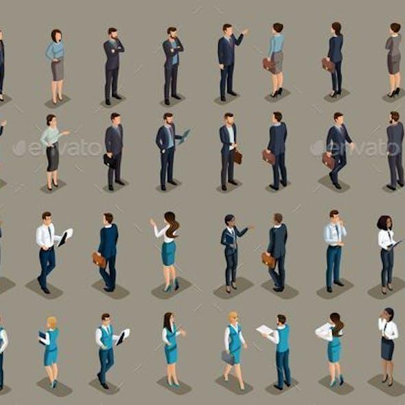 Isometric Set of Business People
