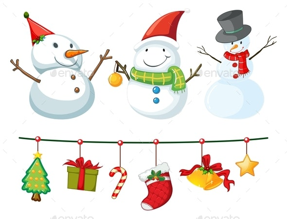 Christmas Theme With Snowman And Ornaments - Man-made Objects Objects