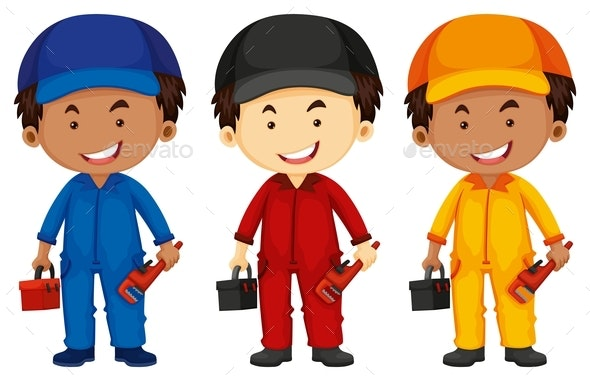 Plumbers Wearing Different Color Outfit - People Characters