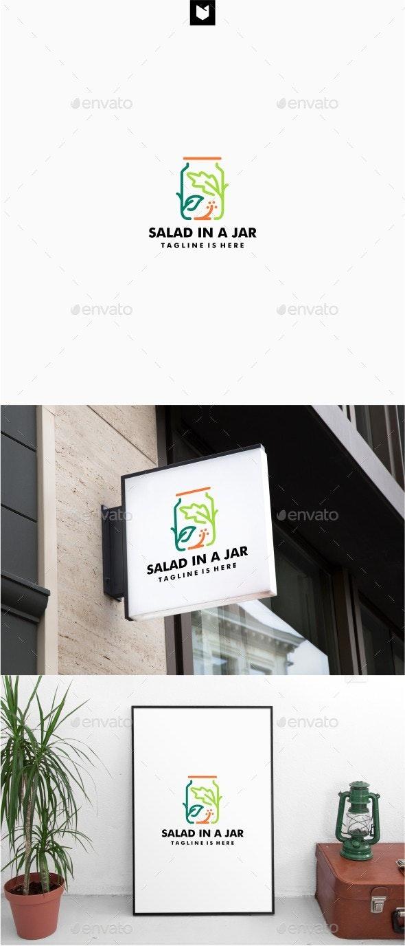 Salad in a Jar Logo - Food Logo Templates
