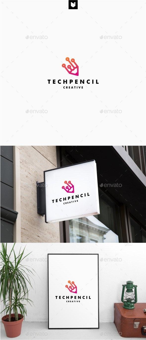 Digital Pencil Tech Logo - Objects Logo Templates