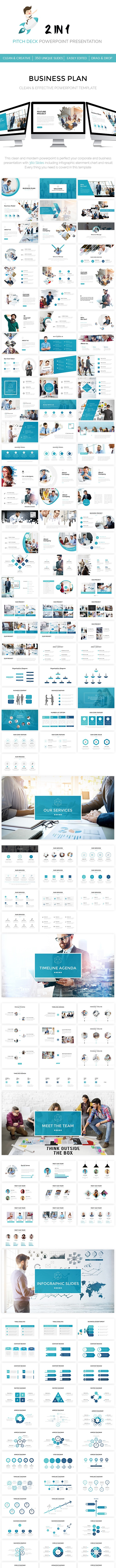 2 in 1 Clean Pitch Deck Powerpoint Template - Business PowerPoint Templates