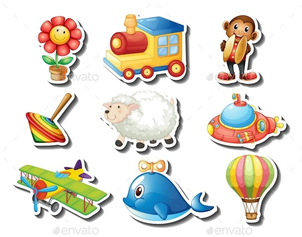 Different Kind of Toy Stickers - Man-made Objects Objects