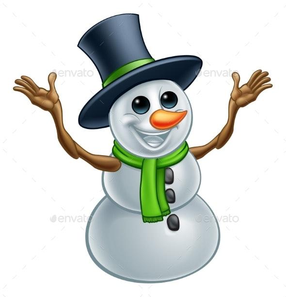 Snowman Christmas Cartoon Character - Christmas Seasons/Holidays
