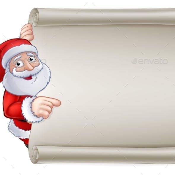 Christmas Santa Claus Cartoon Sign