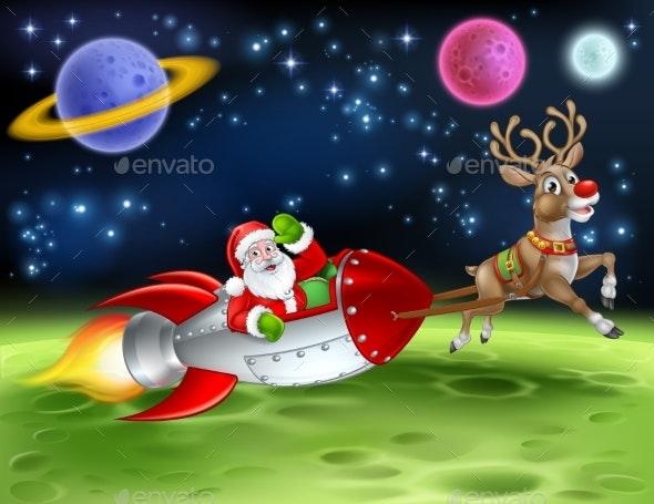 Santa Claus Rocket Sleigh Space Christmas Cartoon - Christmas Seasons/Holidays