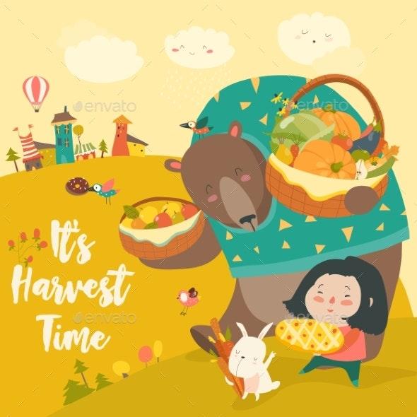Bear Bunny and Girl Harvesting - Animals Characters