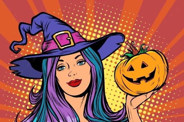 Happy Halloween Witch with Pumpkin - Halloween Seasons/Holidays