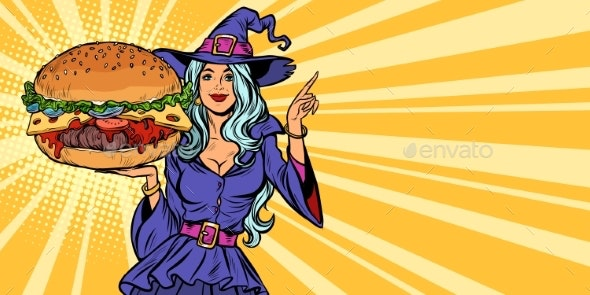 Halloween Witch Presents Holiday Burger - Halloween Seasons/Holidays