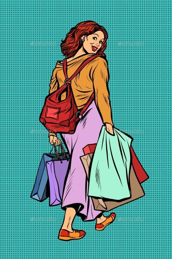 Woman Goes Shopping - People Characters