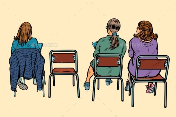 Women Sit Back on Chairs - People Characters