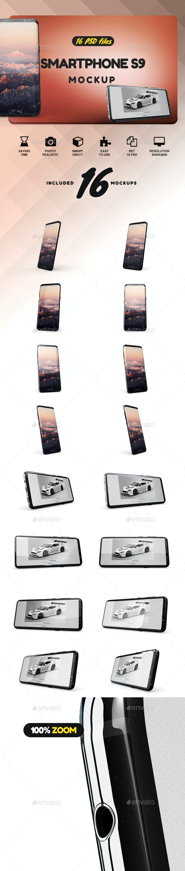 SmartPhone Galaxy S9 App Mockup - Product Mock-Ups Graphics
