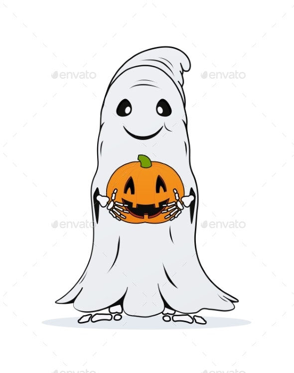Ghost with Pumpkin in Hands on White Background - Halloween Seasons/Holidays