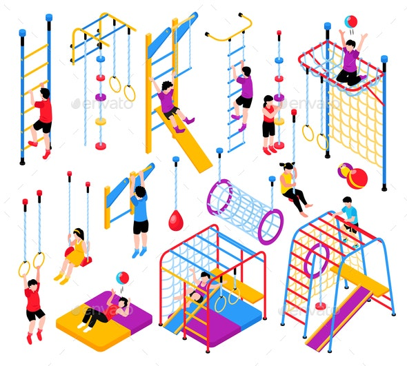 Isometric Playground Elements Collection - Sports/Activity Conceptual