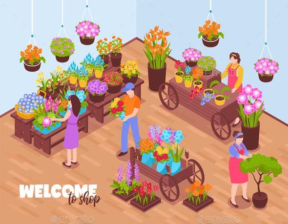 Isometric Florists Shop Composition - Miscellaneous Vectors