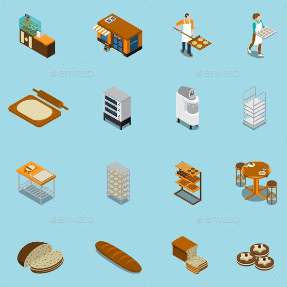 Bakery Production Icons Collection - Industries Business