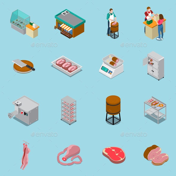 Isometric Butchery Icons Collection - Animals Characters