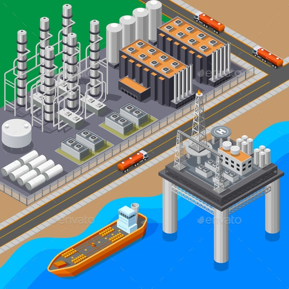 Oil Isometric Composition - Industries Business