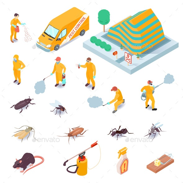 Isometric Pest Control Set - Industries Business