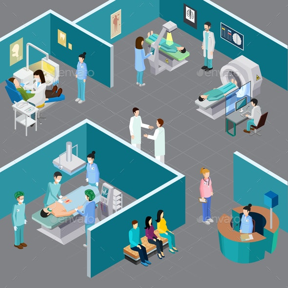 Hospital Rooms Isometric Composition - Health/Medicine Conceptual