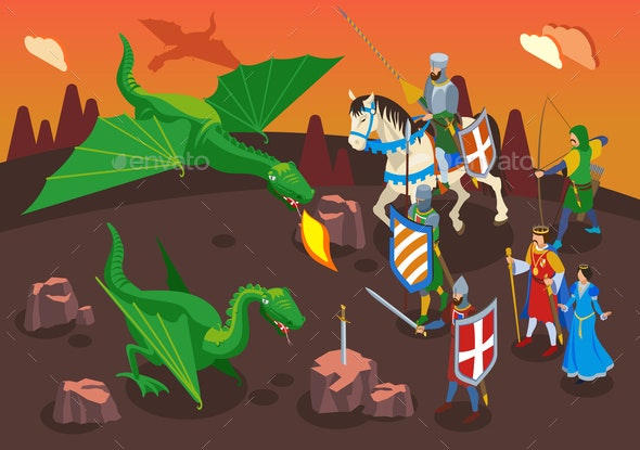 Medieval Heroes Isometric Composition - Miscellaneous Vectors