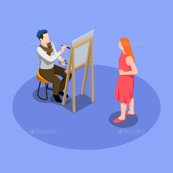 Street Artist Isometric Composition - People Characters