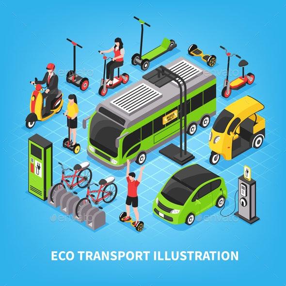 Eco Transport Isometric Illustration - Miscellaneous Vectors