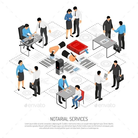 Notarial Services Isometric Composition - People Characters