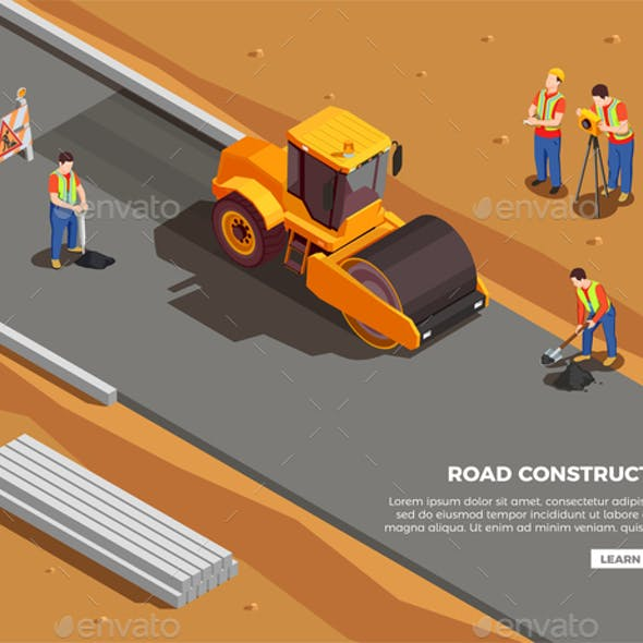 Road Construction Isometric Composition