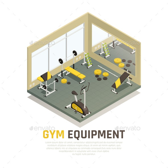 Exercise Equipment Isometric Composition - Sports/Activity Conceptual